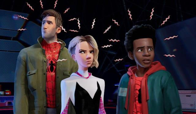 Jake Johnson plays Peter Parker/Spider-Man, Hailee Steinfeld plays Gwen Stacy/Spider-Gwen, and Shameik Moore plays Miles Morales/Spider-Man in Sony's upcoming animated movie <i>Spider-Man: Into the Spider-Verse</i>. (Photo: Sony Pictures)