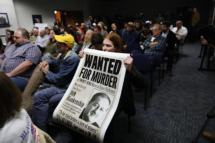 A student protester demonstrates against Don Blankenship, Republican candidate for U.S. Senate, as he speaks at a town hall meeting at West Virginia University on March 1 in Morgantown, W.Va. (Photo: Spencer Platt/Getty Images)