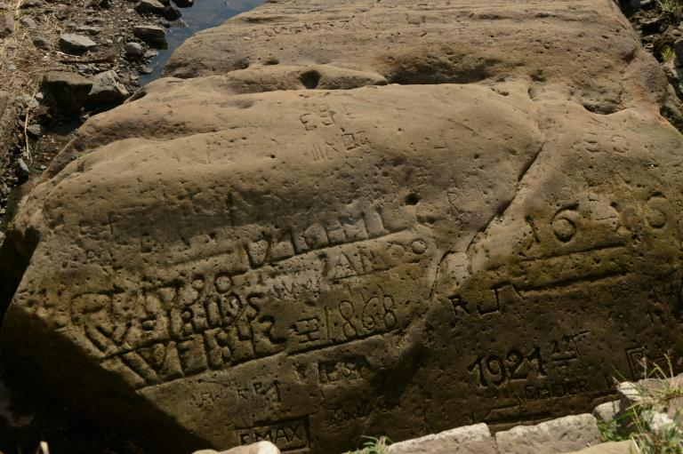 "About 20 such ""hunger stones"", engraved with markers and dates going back centuries, can still be found on the banks of the Elbe, a major central European waterway running from the Czech Republic through Germany to the North Sea"