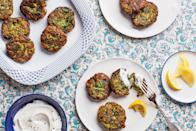 "These golden brown fritters, which come from Shvil's Tunisian-Jewish family, are bursting with fresh flavor, thanks to a generous helping of Swiss chard, parsley, cilantro, and dill. They're especially delicious as part of the traditional Sephardic Rosh Hashanah seder meal. <a href=""https://www.epicurious.com/recipes/food/views/swiss-chard-and-herb-fritters?mbid=synd_yahoo_rss"" rel=""nofollow noopener"" target=""_blank"" data-ylk=""slk:See recipe."" class=""link rapid-noclick-resp"">See recipe.</a>"