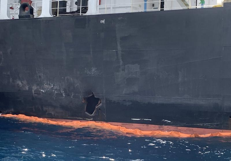 A picture taken during a guided tour by the US Navy (NAVCENT) shows the damage in the hull of the Japanese oil tanker Kokuka Courageous off the port of the Gulf emirate of Fujairah on June 19, 2019