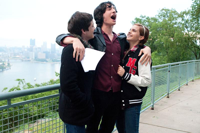 """This image released by Summit Entertainment shows, from left, Logan Lerman, Ezra Miller and Emma Watson in a scene from """"The Perks of Being a Wallflower."""" (AP Photo/Summit Entertainment, John Bramley)"""