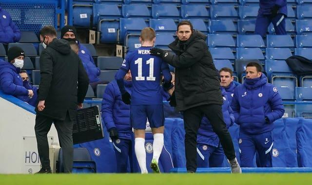 Timo Werner (left) gets a pat on the back from Frank Lampard