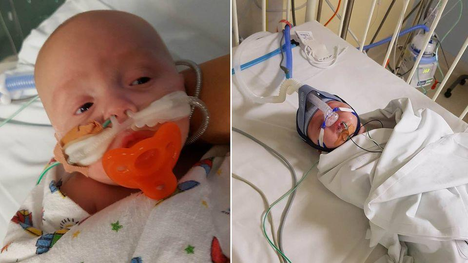 Three-month-old Harrison had to airlifted to The Sydney Children's Hospital at Randwick. Photo: Facebook