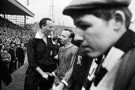 FA Cup Semi Final match at Burnden Park, Bolton. Everton 1 v Manchester United 0. Dejection for United's Nobby Stiles as he leaves the pitch at the end of the match, 23rd April 1966. (Photo by Staff/Mirrorpix/Getty Images)