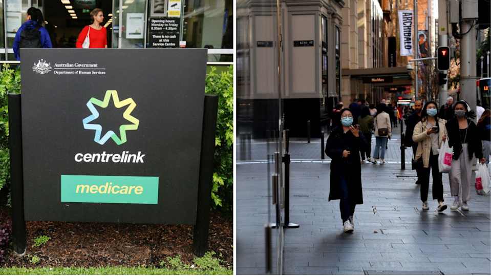 Centrelink sign, people in Sydney's Pitt Street mall wearing face masks.