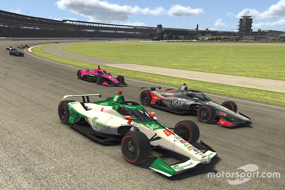 """Colton Herta, Harding Steinbrenner Racing and Conor Daly, Carlin wheel-to-wheel<span class=""""copyright"""">Chris Graythen - Getty Images</span>"""