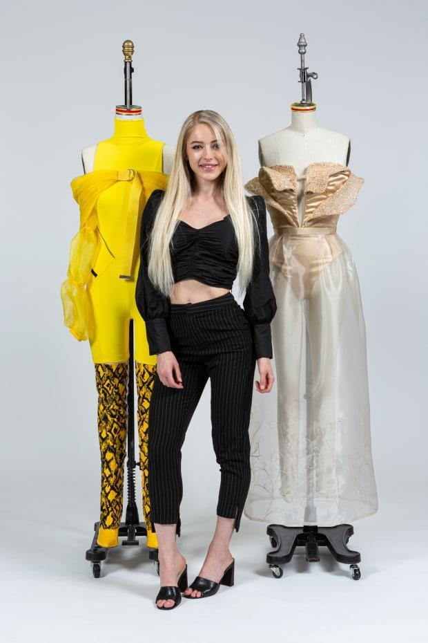 <em>Paige Walker, a fashion design student at the Fashion Institute of Technology, with her winning garments designed for Belle from 'Beauty and the Beast.' Photo: Courtesy of FIT</em>