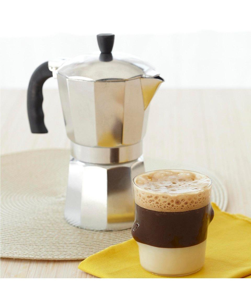 "You really can't beat the price on this one. This stovetop espresso maker can brew, filling the carafe, in just minutes. It has a cool touch handle that won't be too hot for your hands, and everything detaches for an easy clean. <a href=""https://fave.co/2SYuogc"" target=""_blank"" rel=""noopener noreferrer"">Originally $44, get it now for $7 with code <strong>THANKYOU</strong> at Macy's</a>."