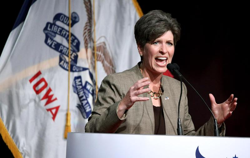 Republican senatorial candidate State Sen. Joni Ernst, speaks during the Iowa Faith and Freedom Coalition fall fundraiser on Saturday, Sept. 27, 2014, in Des Moines, Iowa. (AP Photo/Justin Hayworth)