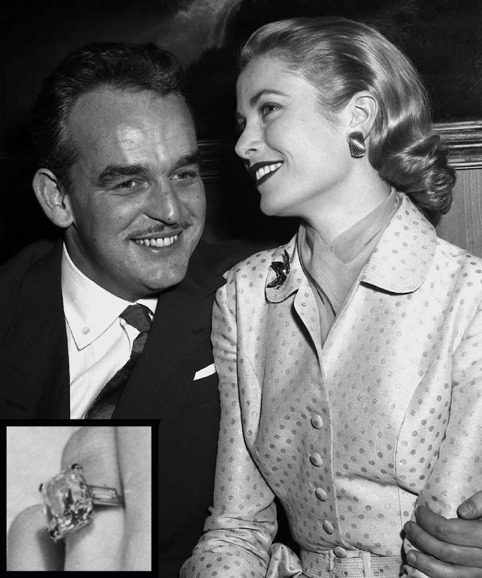<p>Prince Rainier III of Monaco proposed to legendary Hollywood beauty Grace Kelly with a 10.5-carat square-cut diamond ring in 1955.</p>