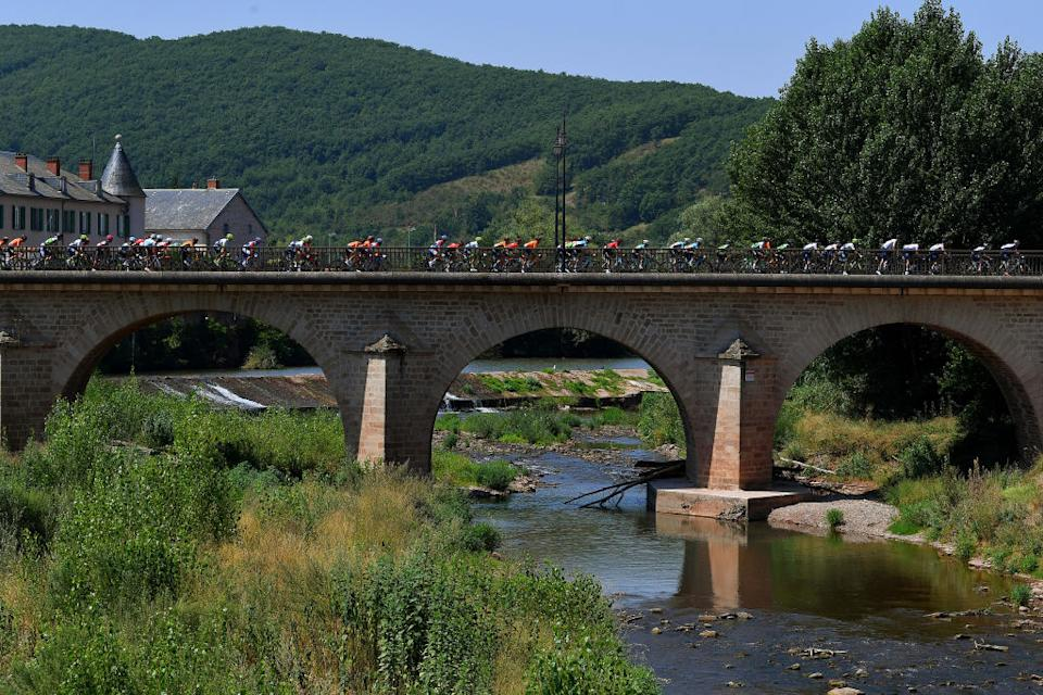 BEZIERS FRANCE  AUGUST 01 Peloton  Landscape  Bridge  during the 44th La Route dOccitanie  La Depeche du Midi 2020 Stage 1 a 187km stage from Saint Affrique to Cazouls ls Bziers  RouteOccitanie  RDO2020  on August 01 2020 in Beziers France Photo by Justin SetterfieldGetty Images