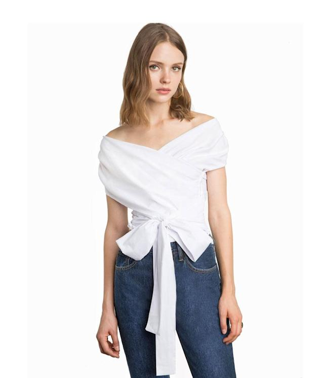 "<p>White wrap off-the-shoulder shirt, $98, <a href=""https://www.pixiemarket.com/collections/tops/products/white-wrap-off-the-shoulder-shirt"" rel=""nofollow noopener"" target=""_blank"" data-ylk=""slk:pixiemarket.com"" class=""link rapid-noclick-resp"">pixiemarket.com</a> </p>"