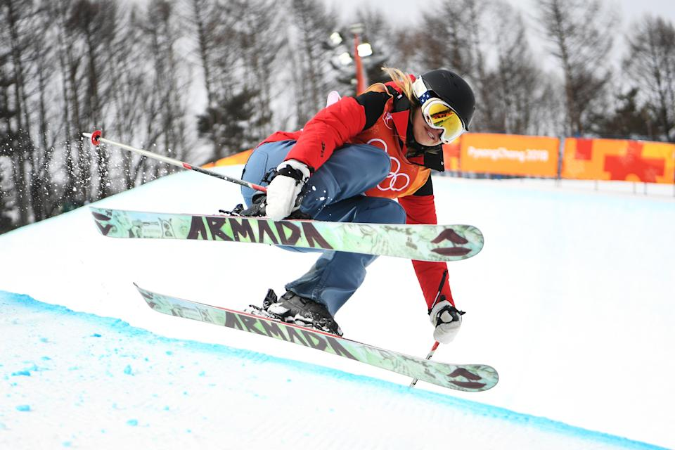 Elizabeth Swaney competes in the ladies halfpipe on Monday. (Getty Images)