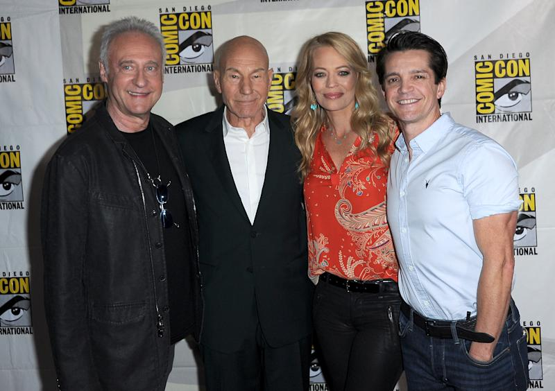 "SAN DIEGO, CALIFORNIA - JULY 20: (L-R) Brent Spiner, Patrick Stewart, Jeri Ryan and Jonathan Del Arco attend the ""Enter The Star Trek Universe"" Panel during 2019 Comic-Con International at San Diego Convention Center on July 20, 2019 in San Diego, California. (Photo by Albert L. Ortega/Getty Images)"
