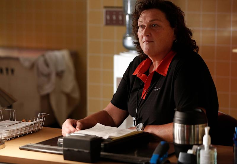 "GLEE: Dot-Marie Jones as Coach Beiste in the ""Jagged Little Tapestry"" episode of GLEE airing Friday, Jan. 16, 2015 (9:00-10:00 PM ET/PT) on FOX. (Photo by FOX Image Collection via Getty Images)"