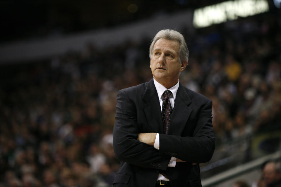FILE - In this Nov. 20, 2009 file photo, Sacramento Kings coach Paul Westphal looks on during an NBA basketball game against the Dallas Mavericks in Dallas. Westphal, the Hall of Fame basketball player has died. The Phoenix Suns confirmed his death Saturday, Jan. 2, 2021. (AP Photo/Tony Gutierrez, File)