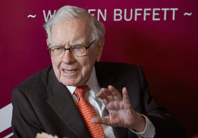 Warren Buffett, Chairman and CEO of Berkshire Hathaway, speaks during a game of bridge following the annual Berkshire Hathaway shareholders meeting in Omaha, Neb., Sunday, May 5, 2019. (AP Photo/Nati Harnik)