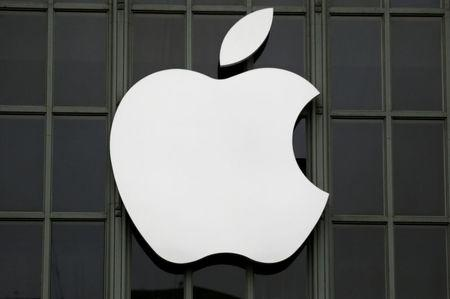 FILE PHOTO: The Apple Inc. logo outside the Worldwide Developers Conference in San Francisco