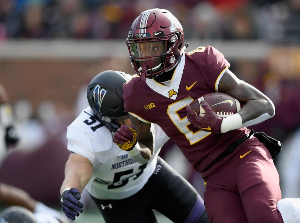 Tyler Johnson, right, has a chance to break some Minnesota school receiving records in his senior season (Getty Images).