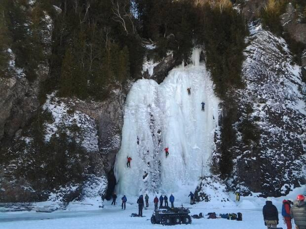 The Bridal Veil Falls on Long island is a popular destination in the winter for ATVers and ice climbers.