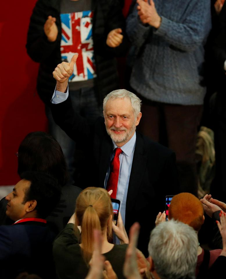 The leader of Britain's opposition Labour Party, Jeremy Corbyn, gestures as he arrives at the official launch of Labour's local election campaign in Manchester, Britain March 22, 2018. REUTERS/Phil Noble