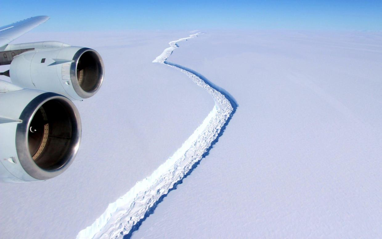 <span>A huge crack had left the Larsen C Ice Shelf 'hanging by a thread', scientists said</span> <span>Credit: JOHN SONNTAG/AFP </span>