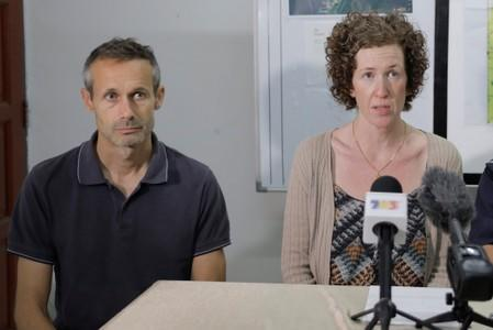 Sebastien Quoirin, and Meabh Quoirin, parents of 15-year-old Irish girl Nora Anne Quoirin who went missing, speak during a news conference in Seremban.