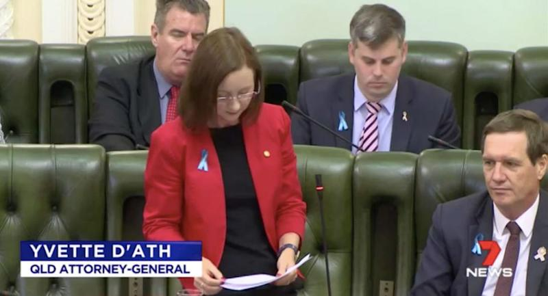 Queensland Attorney General Yvette D'Ath made a statement in Parliament on Thursday. Source: 7 News
