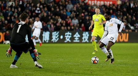 Soccer Football - FA Cup Fourth Round Replay - Swansea City vs Notts County - Liberty Stadium, Swansea, Britain - February 6, 2018 Swansea City's Nathan Dyer scores their second goal Action Images via Reuters/Matthew Childs