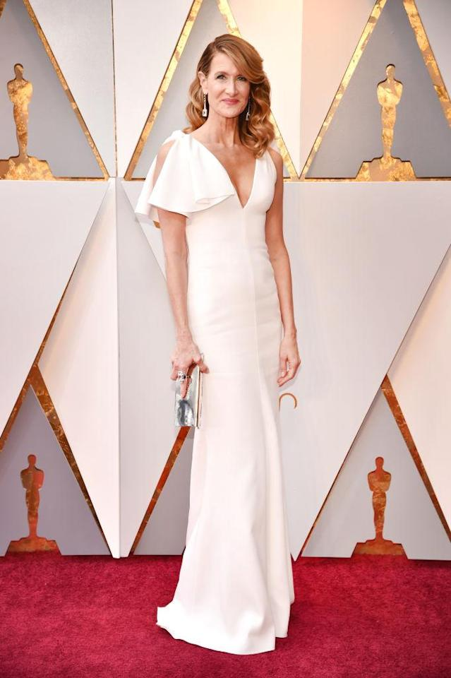 <p>Laura Dern was a vision in white at the 90th Annual Academy Awards in Hollywood. (Photo: Getty Images) </p>