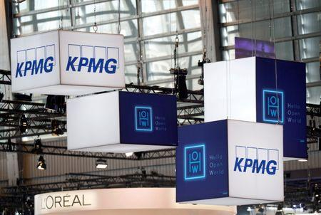 FILE PHOTO: The logo of KPMG pictured during the Viva Tech start-up and technology summit in Paris, France, May 25, 2018. REUTERS/Charles Platiau/File Photo