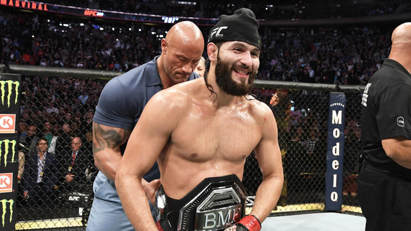 Jorge Masvidal granted the 'Baddest Motherf***er' belt by The Rock at the UFC.