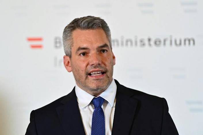 Austria's Interior Minister Karl Nehammer urged Vienna residents to remain in their homes