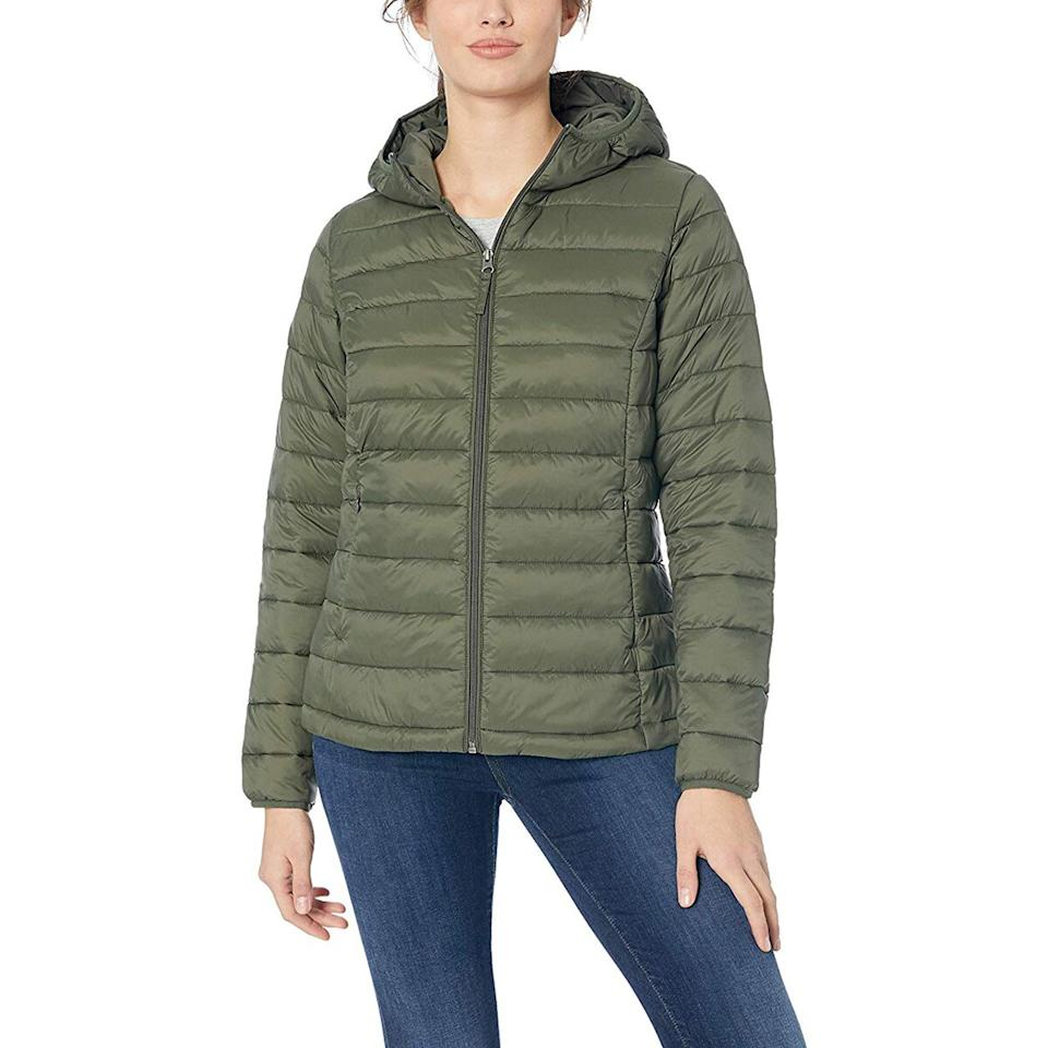"""<p>This surprisingly warm and not-bulky jacket packs down into a super small bag that comes included, making it easy to throw in a tote, gym bag, or suitcase. The lightweight piece is also great for layering. It's so comfy that I'll wear it around the house when I need to warm up. </p> <p><strong>To buy:</strong> $45; <a href=""""https://www.amazon.com/Amazon-Essentials-Lightweight-Water-Resistant-Packable/dp/B07BMLXF5F/ref=as_li_ss_tl?th=1&linkCode=ll1&tag=rslifecozywinterfindsjmattern0120-20&linkId=79a4acc6245b57eb1e3da7b205c1da39&language=en_US"""">amazon.com</a>.</p>"""