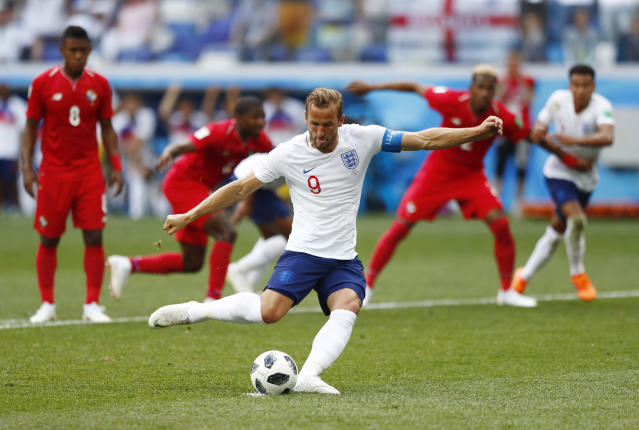 <p>England's Harry Kane kicks a penalty to score his team's second goal </p>