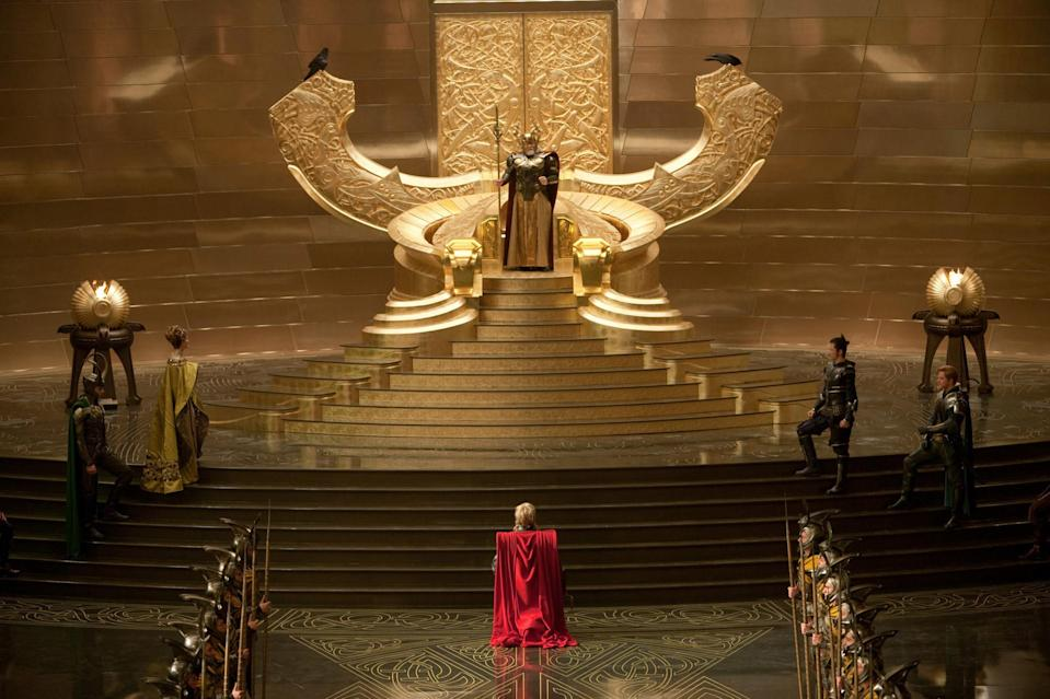 Image from the set of Thor, where Thor kneels before Odin