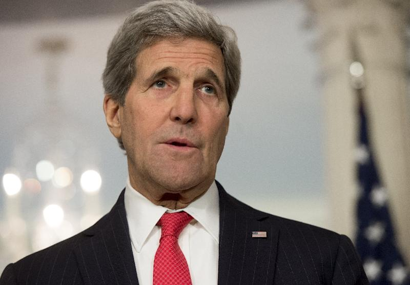 US Secretary of State John Kerry speaks at the State Department in Washington, DC on April 30, 2015