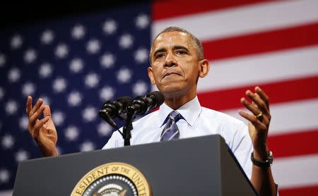 U.S. President Obama speaks about the economy, in Austin