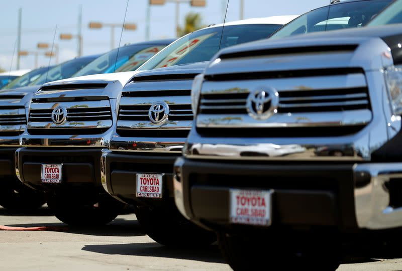 Toyota trucks are shown for sale at a dealership in Carlsbad, California