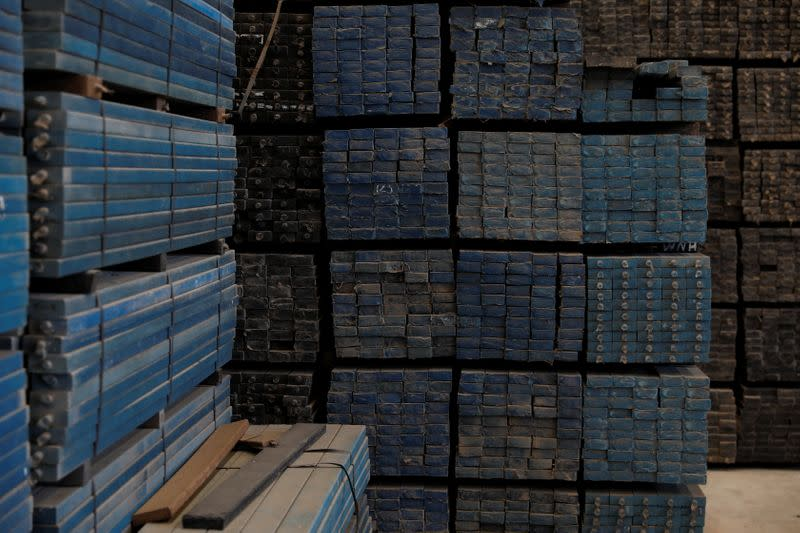 Recycled plastic strips are seen ready to be sold at Extruplas plant in Seixal