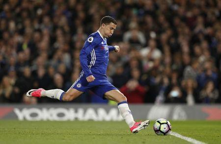 Chelsea's Eden Hazard has his penalty saved before scoring their second goal from the rebound