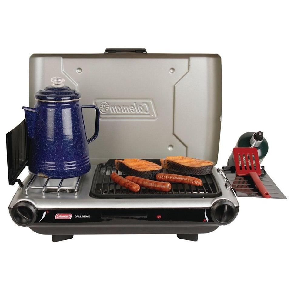 """<h2>Best Grill For Travel</h2><br><h3>Coleman Tabletop 2-in-1 Portable Propane Gas Stove</h3><br><strong>The Hype</strong>: 4 out of 5 stars and 65 ratings on <a href=""""https://www.walmart.com/ip/Coleman-Tabletop-2-in-1-Portable-Camping-Propane-Gas-Stove-2-Burner/44503985"""" rel=""""nofollow noopener"""" target=""""_blank"""" data-ylk=""""slk:Walmart"""" class=""""link rapid-noclick-resp"""">Walmart</a><br><br><strong>BBQ Buffs Say</strong>: """"I am a 75-year-old grandmother. I found that putting the stove together was quite easy and I am not very mechanically inclined. I like the instant start feature too. Don't need matches or a lighter. Good product!""""<br><br><strong>Coleman</strong> Tabletop 2-in-1 Portable Propane Gas Stove, $, available at <a href=""""https://go.skimresources.com/?id=30283X879131&url=https%3A%2F%2Fwww.walmart.com%2Fip%2FColeman-Tabletop-2-in-1-Portable-Camping-Propane-Gas-Stove-2-Burner%2F44503985"""" rel=""""nofollow noopener"""" target=""""_blank"""" data-ylk=""""slk:Walmart"""" class=""""link rapid-noclick-resp"""">Walmart</a>"""