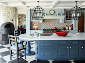 "<p>Diamond motifs from the walls to the floor and sleek gray-blue cabinetry evoke a sense of wonder with the cooking space of this Utah mountain getaway. Designer <a href=""https://www.anthonybaratta.com/"" rel=""nofollow noopener"" target=""_blank"" data-ylk=""slk:Anthony Baratta"" class=""link rapid-noclick-resp"">Anthony Baratta</a> sought out artist <a href=""http://www.adamlowenbein.com/"" rel=""nofollow noopener"" target=""_blank"" data-ylk=""slk:Adam Lowenbein"" class=""link rapid-noclick-resp"">Adam Lowenbein</a> to paint the rustic wooden floors. The custom ladder chairs feature cushions in a <a href=""https://www.dualoy.com/"" rel=""nofollow noopener"" target=""_blank"" data-ylk=""slk:Dualoy"" class=""link rapid-noclick-resp"">Dualoy</a> leather. The backsplash and wall tiles are from <a href=""https://www.solarantiquetiles.com/"" rel=""nofollow noopener"" target=""_blank"" data-ylk=""slk:Solar Antique Tiles"" class=""link rapid-noclick-resp"">Solar Antique Tiles</a>. For a similar paint color, try Benjamin Moore's Soft Jazz in a pearl finish.</p><p><a class=""link rapid-noclick-resp"" href=""https://www.benjaminmoore.com/en-us/color-overview/find-your-color/color/809/soft-jazz?color=809&source=%2Fen-us%2Fcolor-overview%2Ffind-your-color%2Fcolor-families%2Fblu%2Fblue"" rel=""nofollow noopener"" target=""_blank"" data-ylk=""slk:Get the Look"">Get the Look</a></p>"