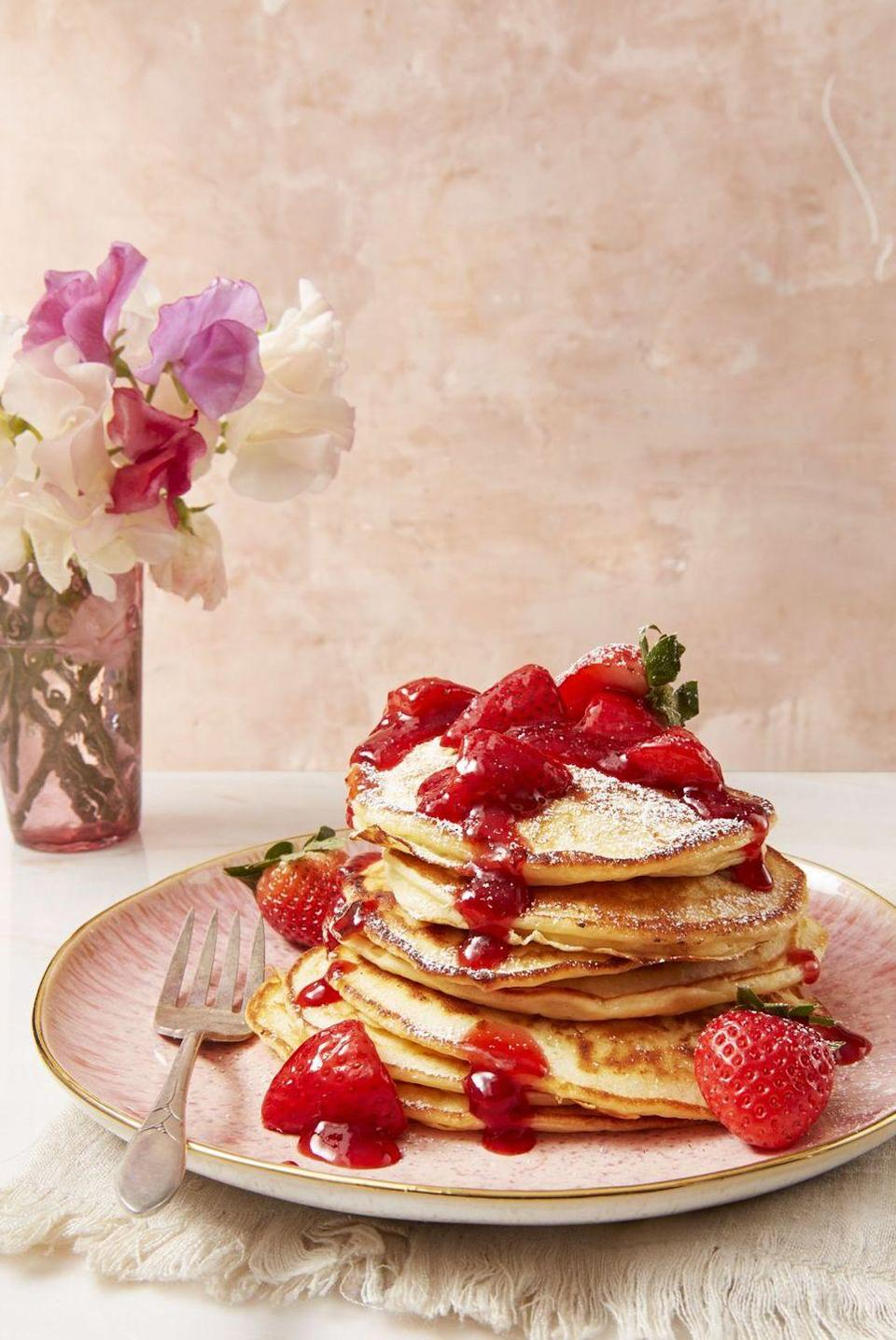 "<p>Dessert for breakfast? Count us in! These cheesecake-like pancakes taste just as sweet as they look.</p><p><em><a href=""https://www.goodhousekeeping.com/food-recipes/a43665/strawberry-cheesecake-flapjacks-recipe/"" rel=""nofollow noopener"" target=""_blank"" data-ylk=""slk:Get the recipe for Strawberry Cheesecake Flapjacks »"" class=""link rapid-noclick-resp"">Get the recipe for Strawberry Cheesecake Flapjacks »</a></em></p>"
