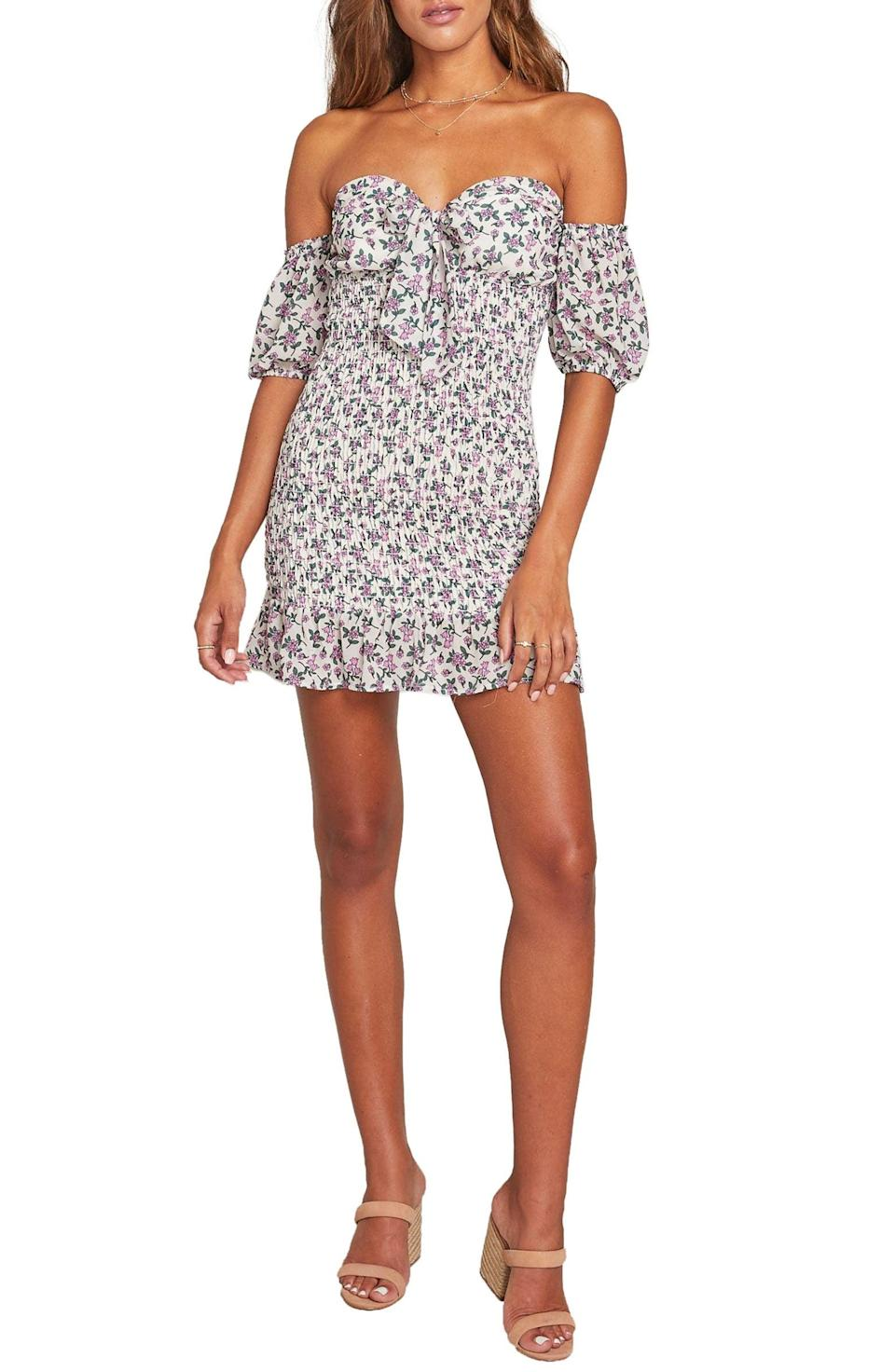 <p>This <span>Lost + Wander Garden Party Off the Shoulder Minidress</span> ($108) will hug you in all the right places.</p>