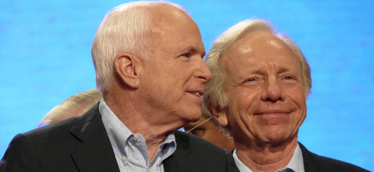 Sen. Joe Lieberman (right) endorsed and campaigned for Sen. John McCainduring the2008 presidential election. (Photo: NBC NewsWire via Getty Images)