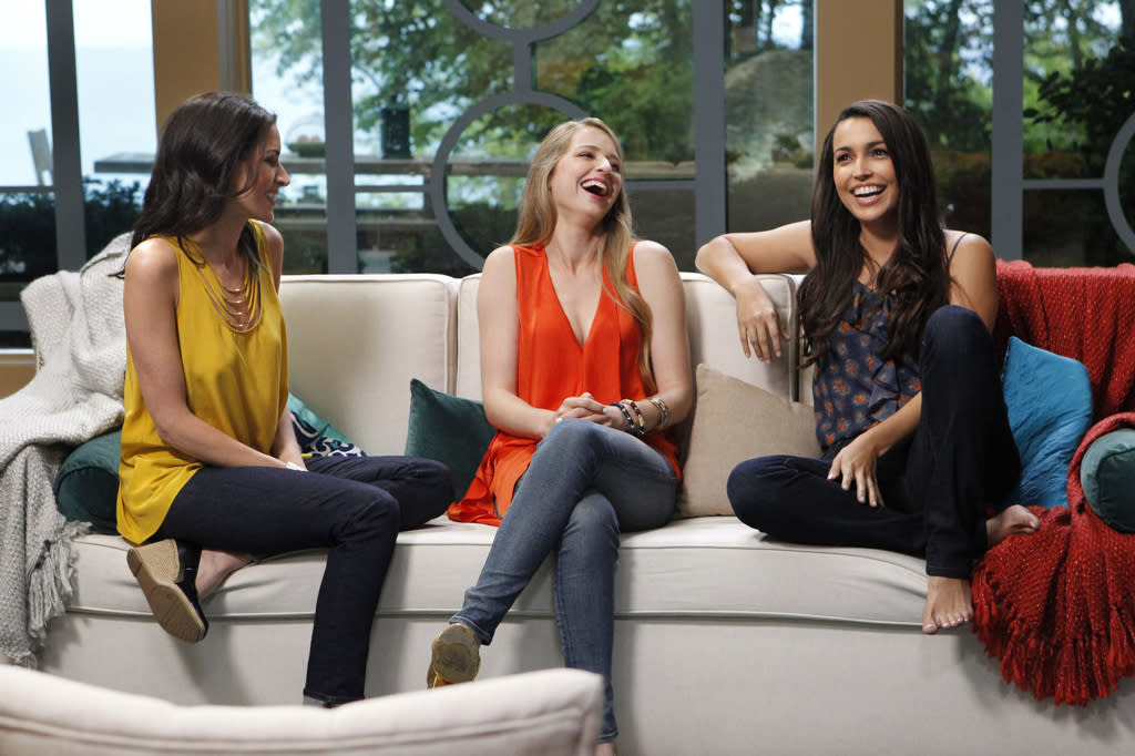 """Rachel Harley, April Francis, and Libby Lopez look for love in the new reality series """"3,"""" premiering Sunday, 7/22 on CBS."""
