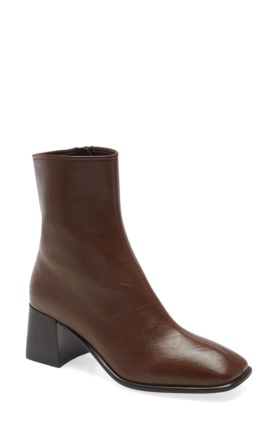 """<p><strong>Jeffrey Campbell</strong></p><p>nordstrom.com</p><p><a href=""""https://go.redirectingat.com?id=74968X1596630&url=https%3A%2F%2Fwww.nordstrom.com%2Fs%2Fjeffrey-campbell-troye-square-toe-bootie-women%2F5597826&sref=https%3A%2F%2Fwww.elle.com%2Ffashion%2Fshopping%2Fg33444637%2Fnordstrom-anniversary-sale-2020%2F"""" rel=""""nofollow noopener"""" target=""""_blank"""" data-ylk=""""slk:Shop Now"""" class=""""link rapid-noclick-resp"""">Shop Now</a></p><p><del>$150</del></p><p><strong>$99.90</strong></p>"""