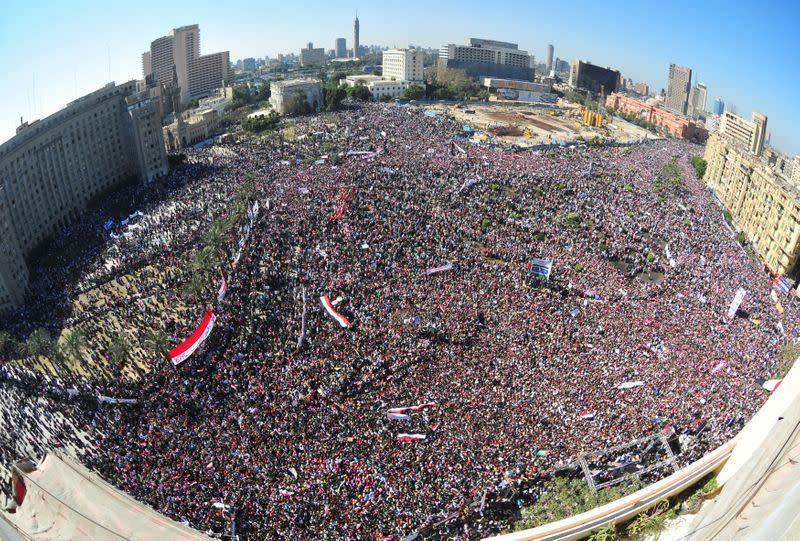 FILE PHOTO: Egyptian pro-democracy supporters gather in Tahrir Square in Cairo